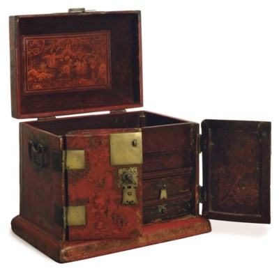 A CHINESE GILT DECORATED RED L