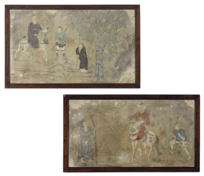 TWO CHINESE FRESCO FRAGMENTS,