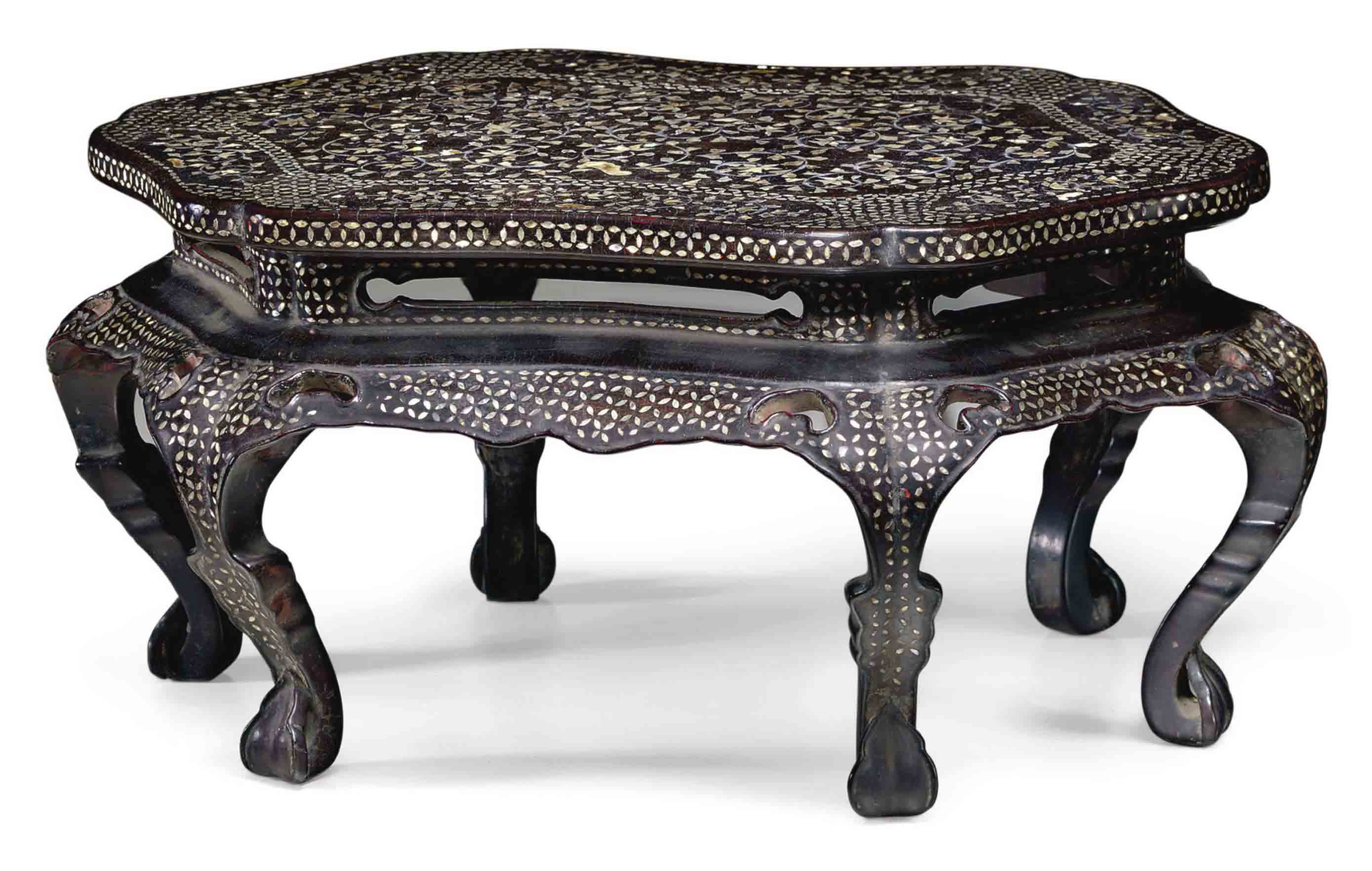 A SMALL KOREAN MOTHER-OF-PEARL AND WIRE-INLAID BLACK LACQUER TABLE