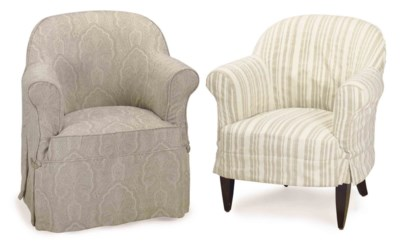 A PAIR OF FRENCH LINEN-UPHOLST