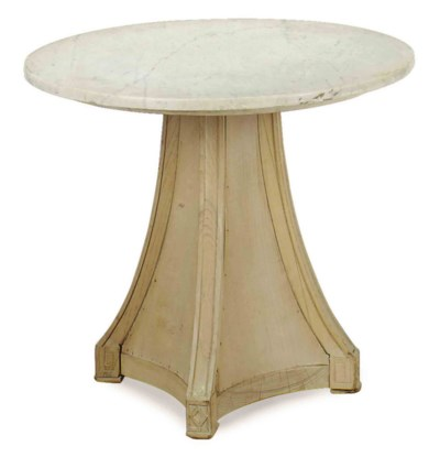 A LIMED-WOOD AND MARBLE-TOP CI
