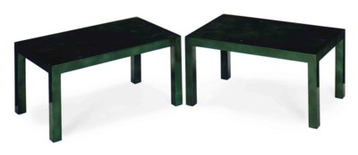 A PAIR OF FRENCH EMERALD GREEN