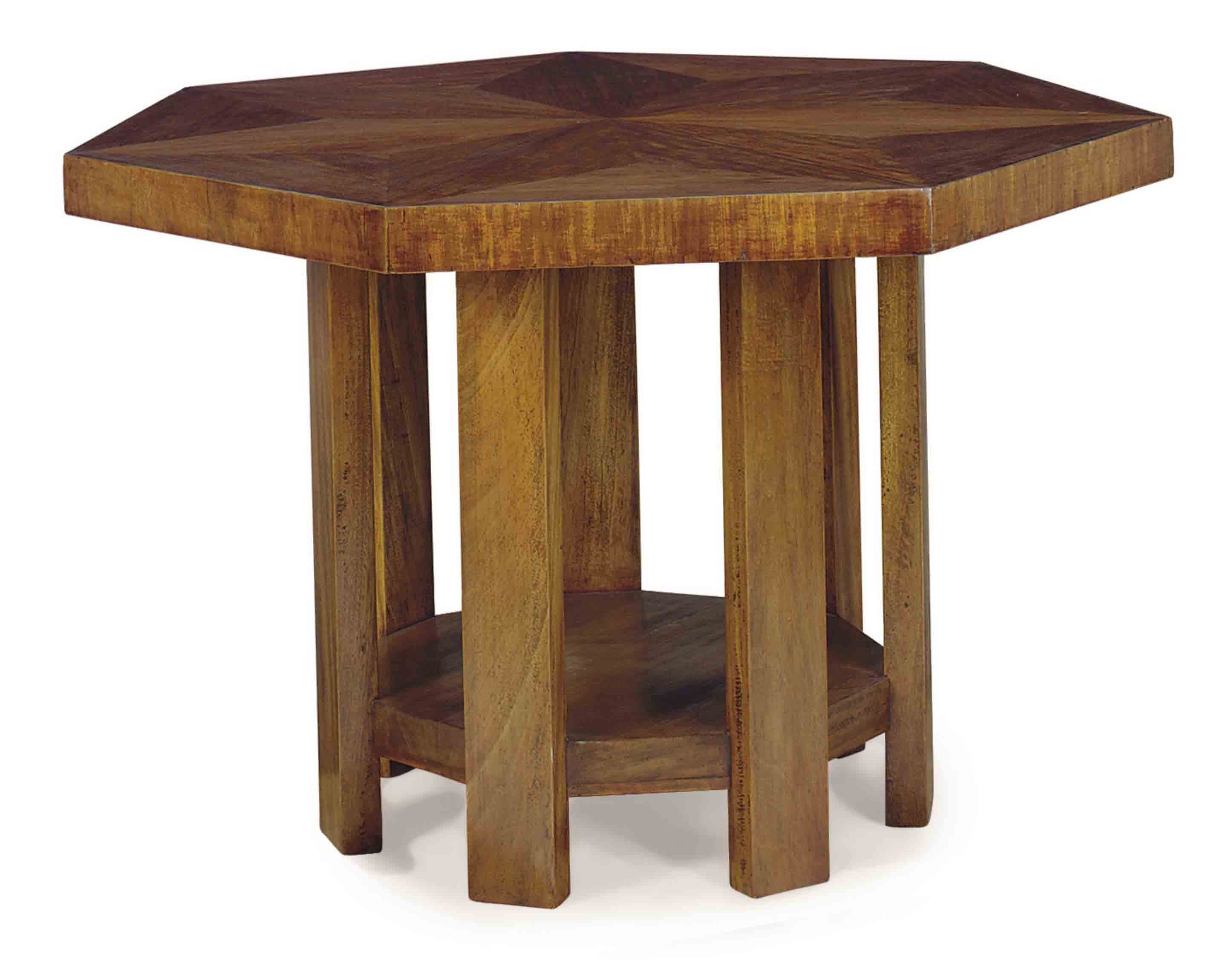A FRENCH MAHOGANY SEVEN-SIDED CENTER TABLE,