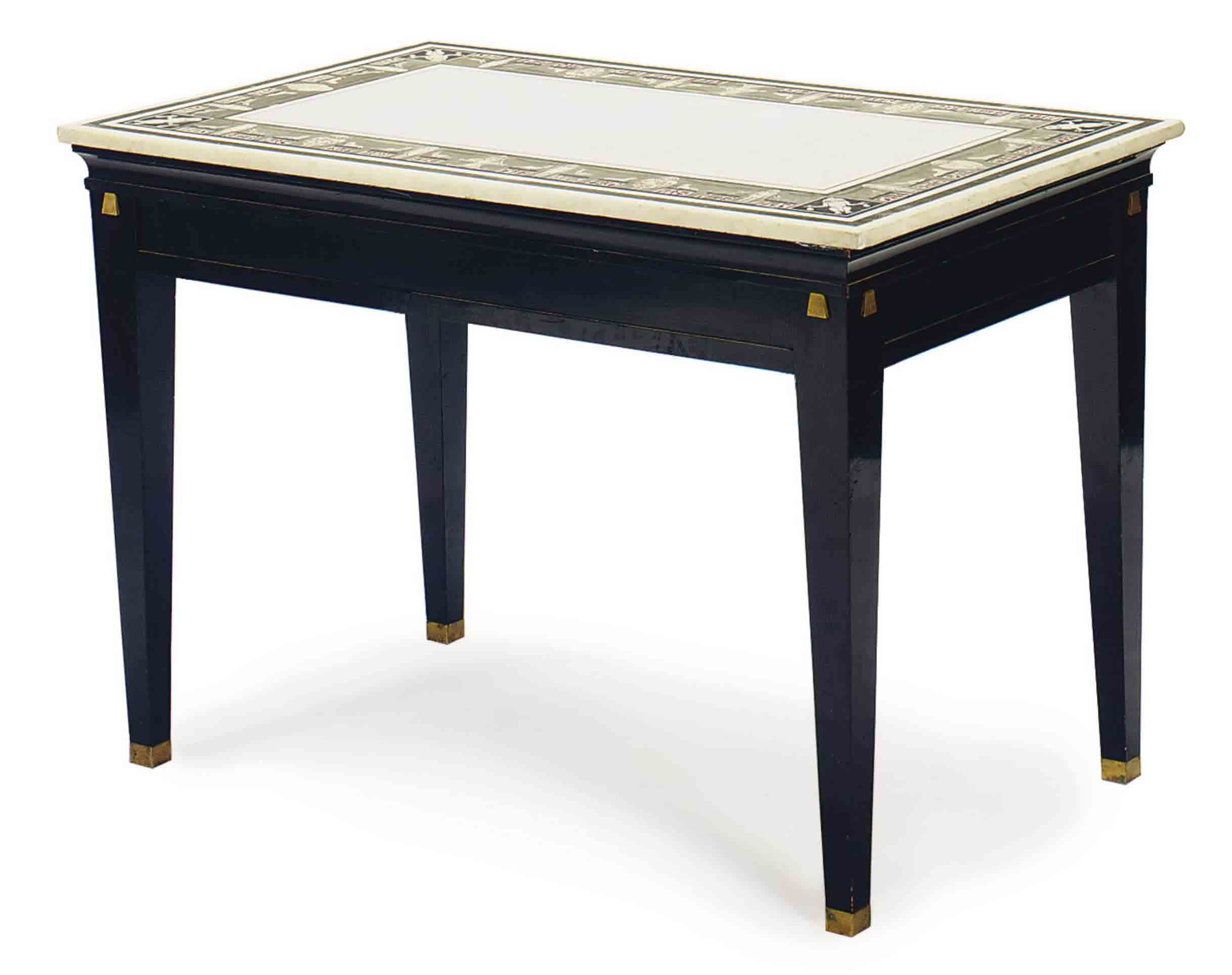 A WHITE MARBLE AND SCAGLIOLA CENTER TABLE,