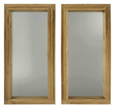 A PAIR OF PINE MIRRORS,