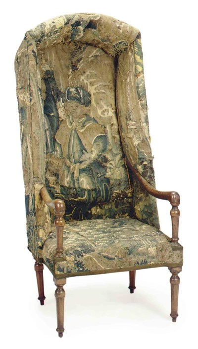 A FRENCH TAPESTRY-UPHOLSTERED