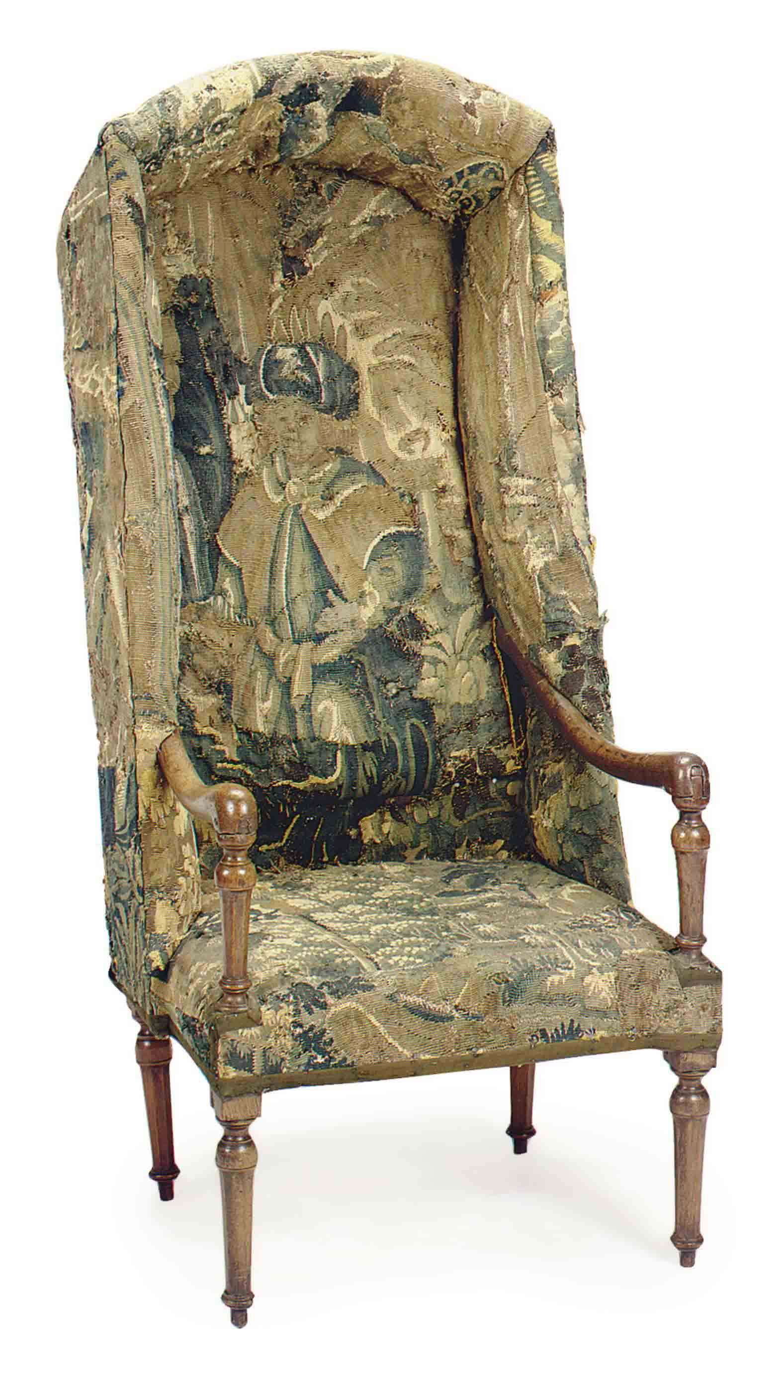 A FRENCH TAPESTRY-UPHOLSTERED WALNUT PORTER'S CHAIR,