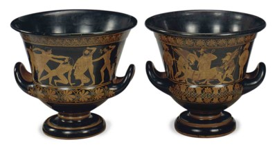 A PAIR OF PAINTED EARTHENWARE