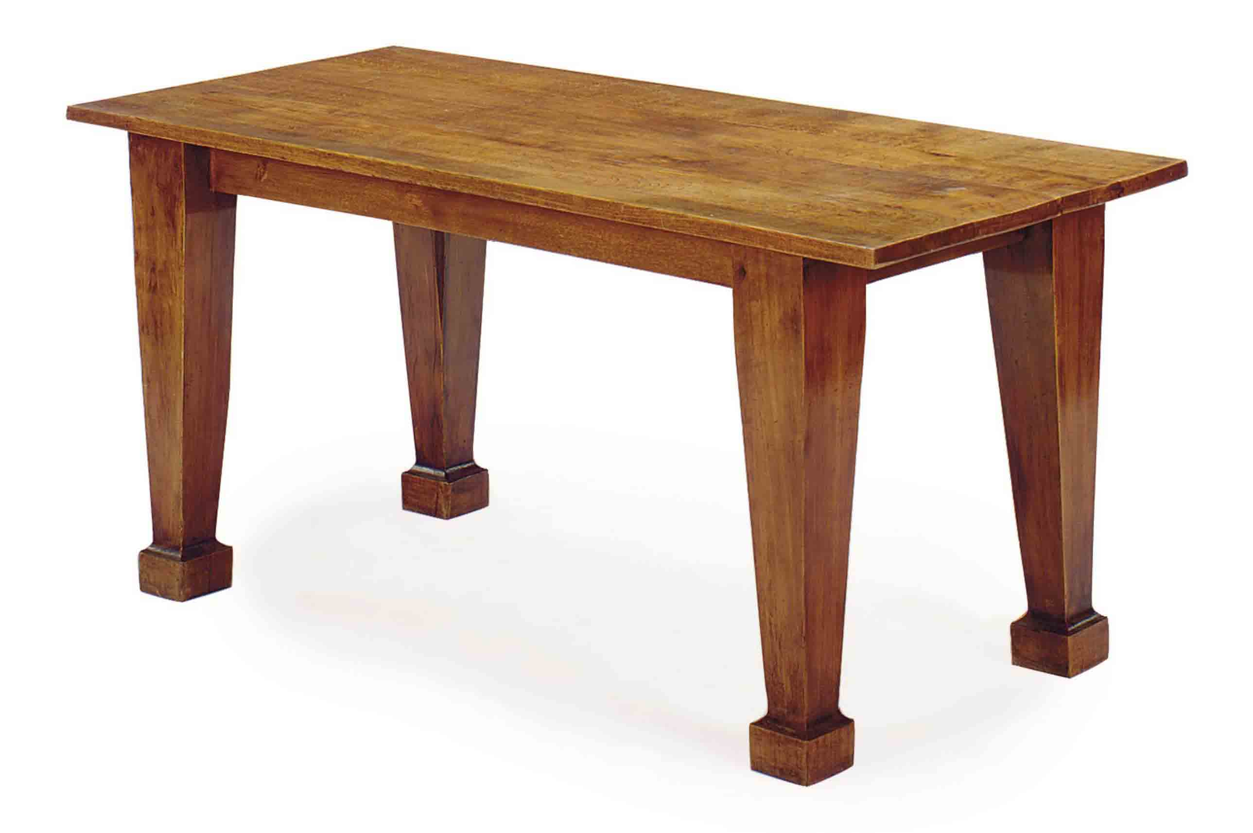 A FRENCH MAHOGANY AND OAK CENTER TABLE,