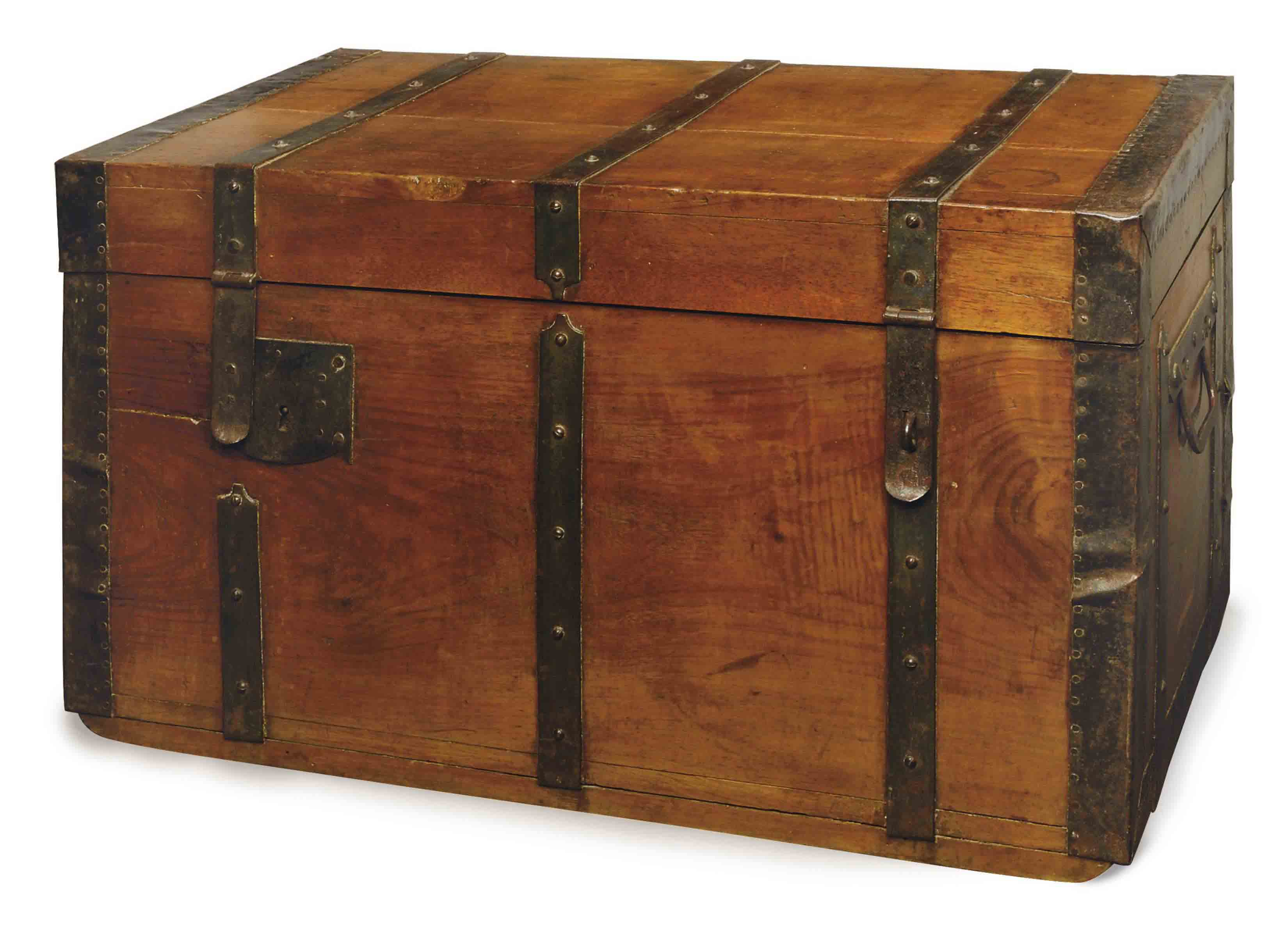 AN ITALIAN METAL-BOUND FRUITWOOD TRAVELLING TRUNK,