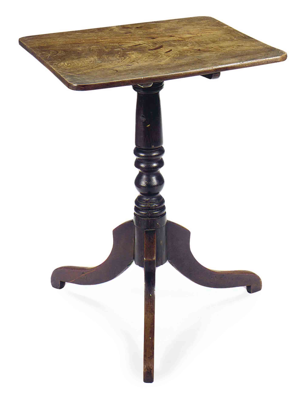 AN ENGLISH MAHOGANY SQUARE TILT-TOP TEA TABLE,