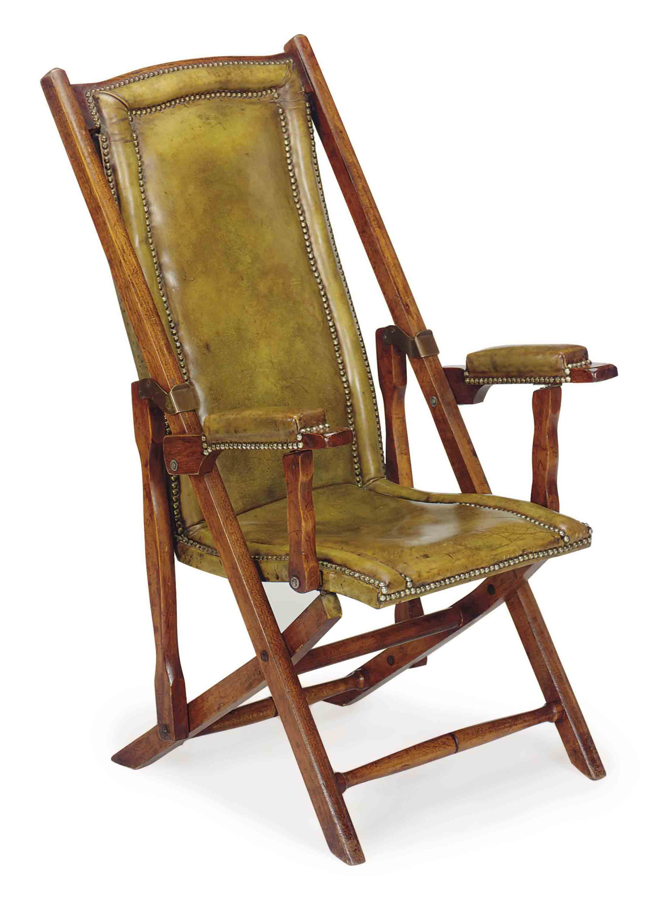 A FRENCH MAHOGANY AND CLOSE NAIL LEATHER-COVERED RECLINING ARMCHAIR,
