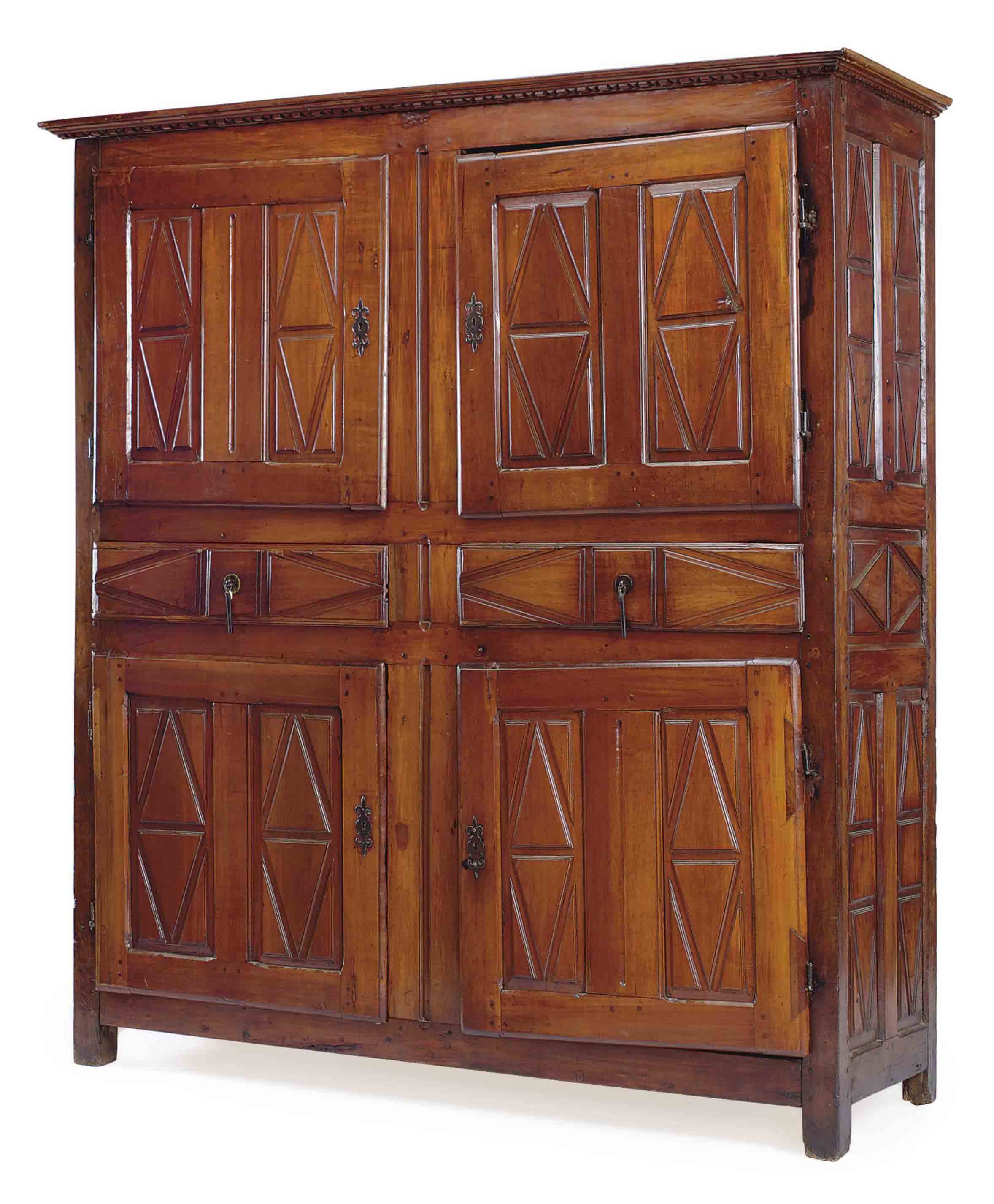 A FRENCH PROVINCIAL CHERRY AND WALNUT CUPBOARD,