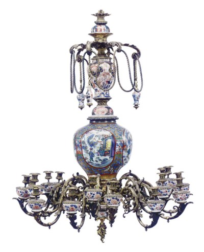 A GILT METAL AND CHINESE PORCE