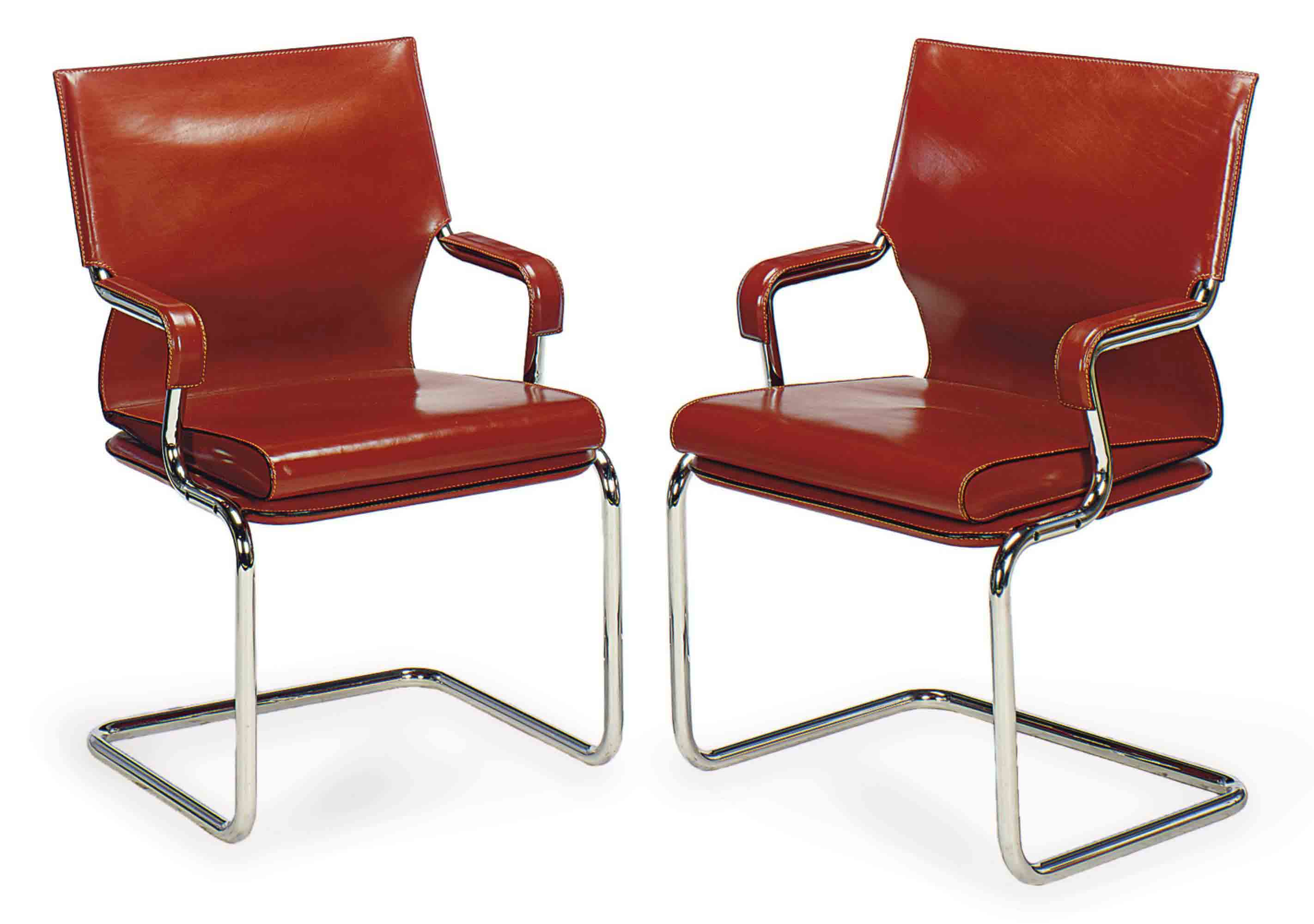 A PAIR CONTEMPORARY CHROMED-METAL AND LEATHER ARMCHAIRS,
