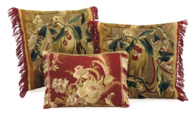 THREE AUBUSSON TAPESTRY FRAGME