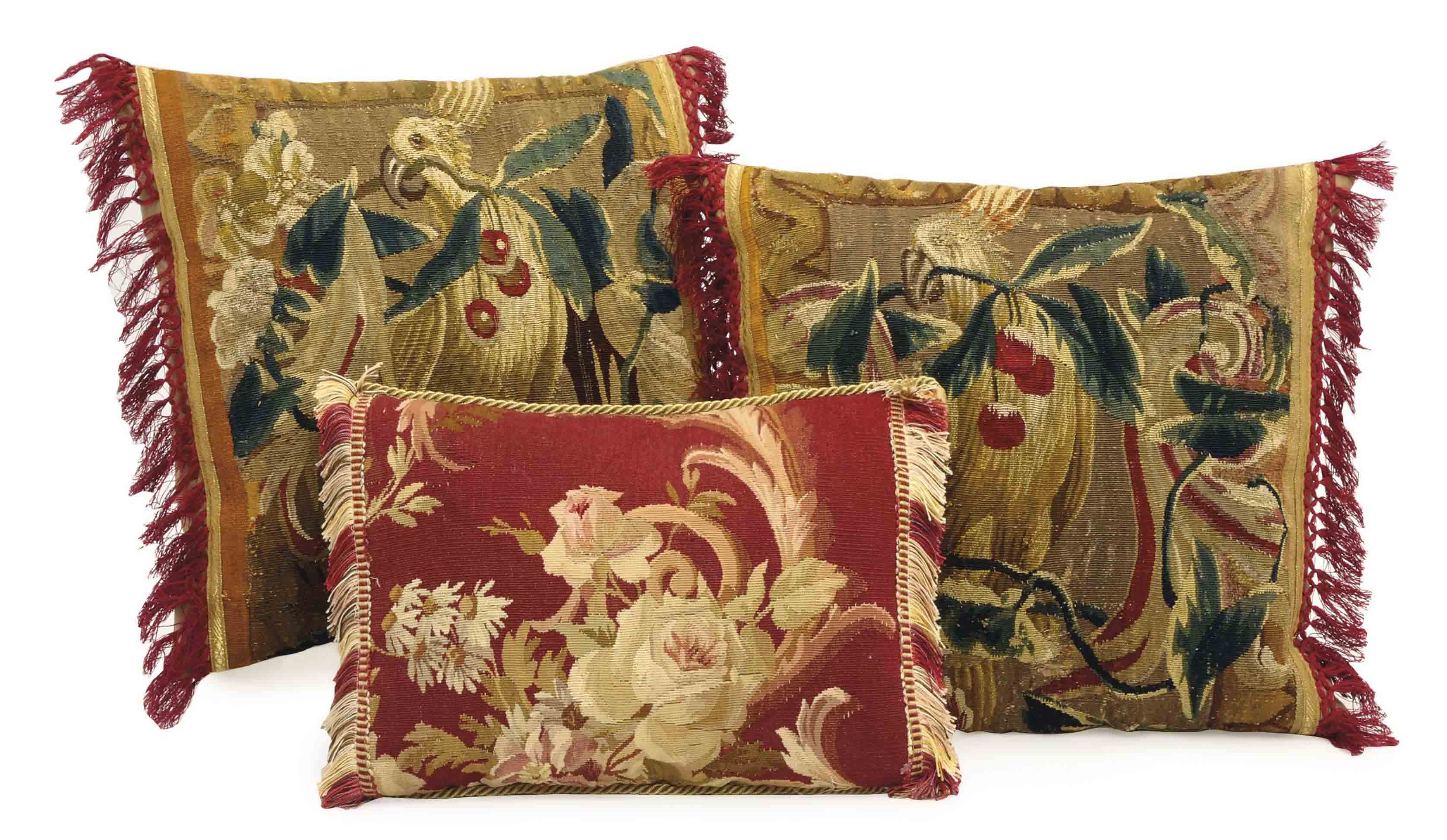THREE AUBUSSON TAPESTRY FRAGMENT CUSHIONS,