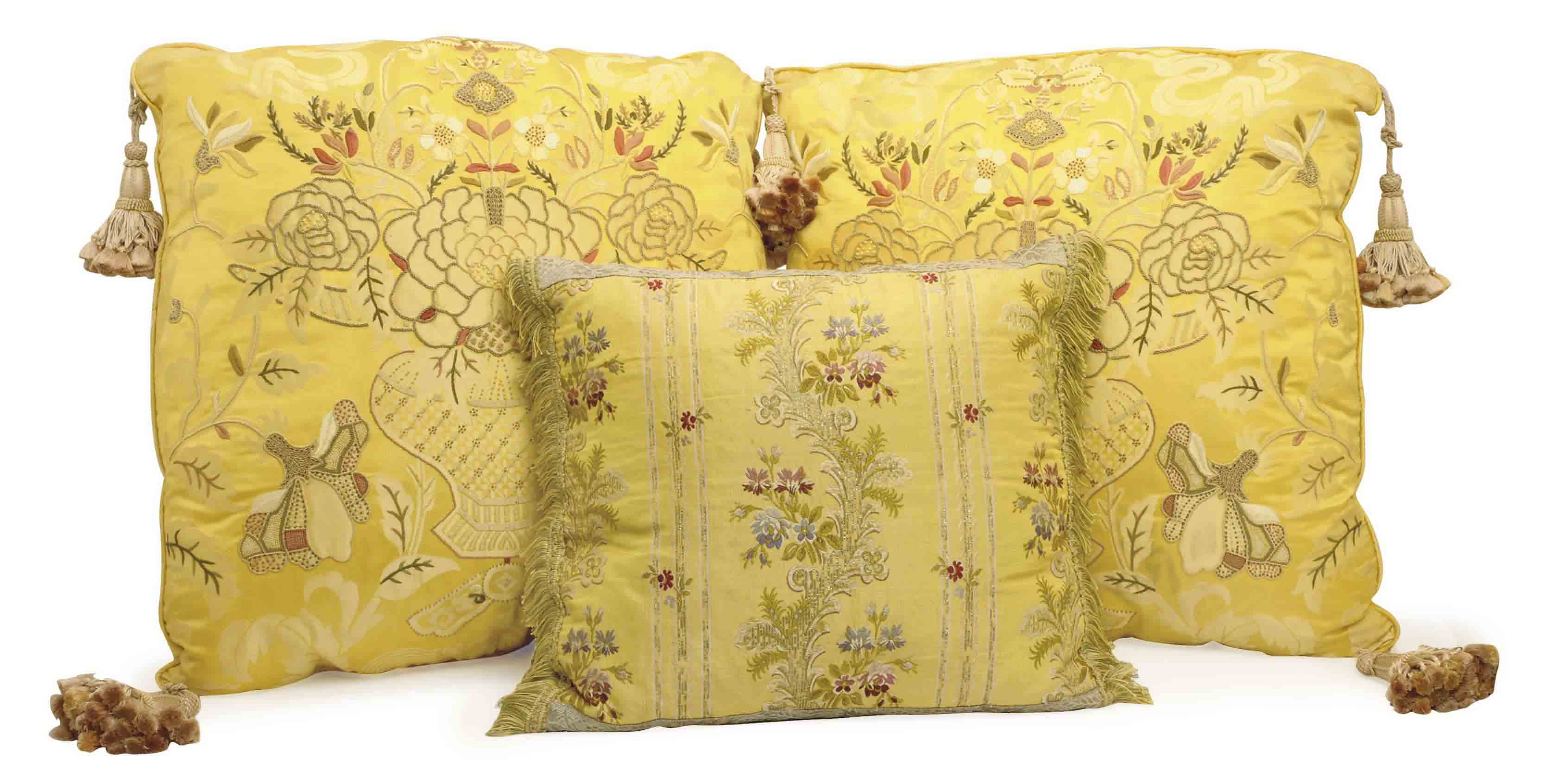 THREE GOLD AND SILK EMBROIDERED CUSHIONS,