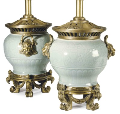 A PAIR OF GILTWOOD-MOUNTED CEL