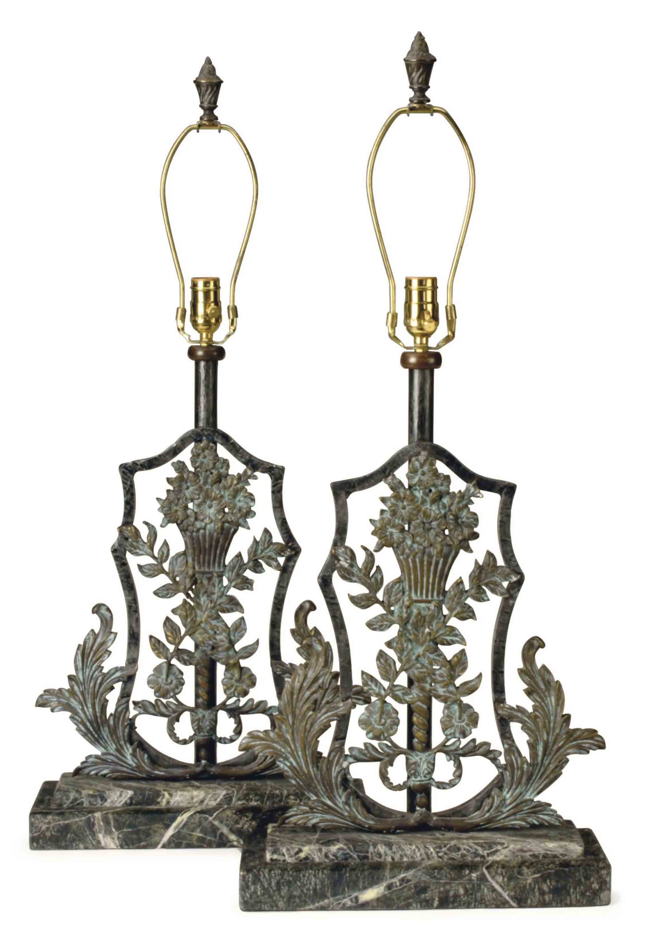 A PAIR OF BRONZE AND MARBLE TABLE LAMPS,