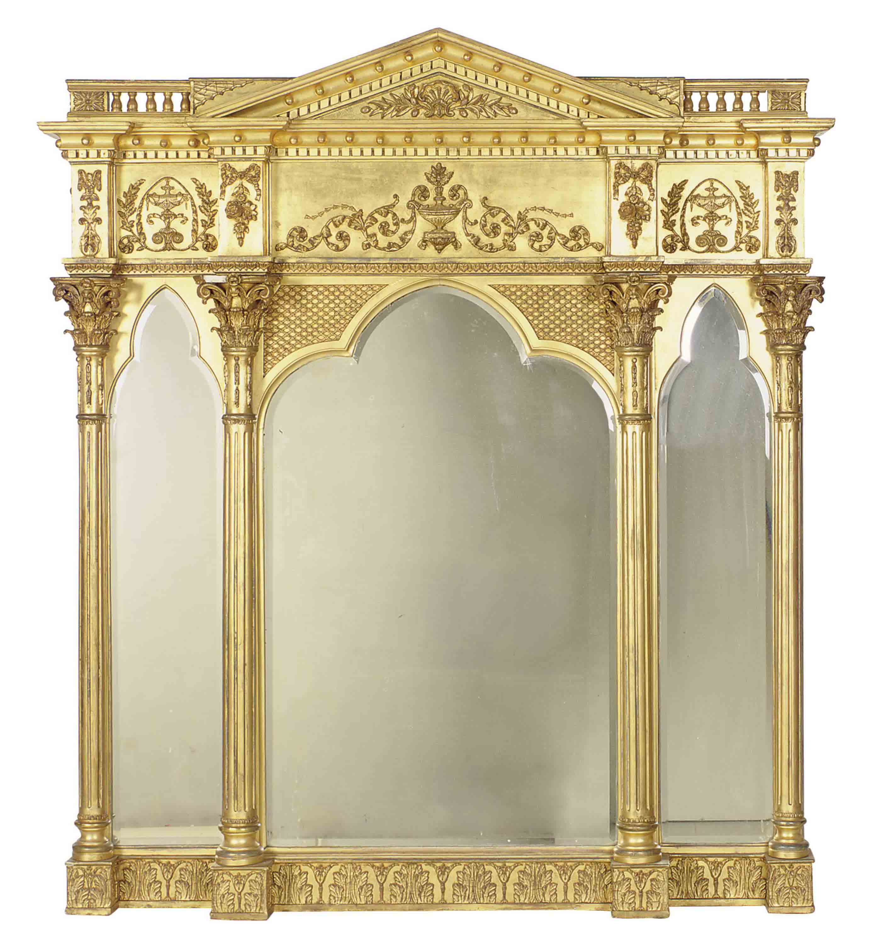 A LARGE GILTWOOD AND GILT COMPOSITION TRIPARTITE MIRROR,