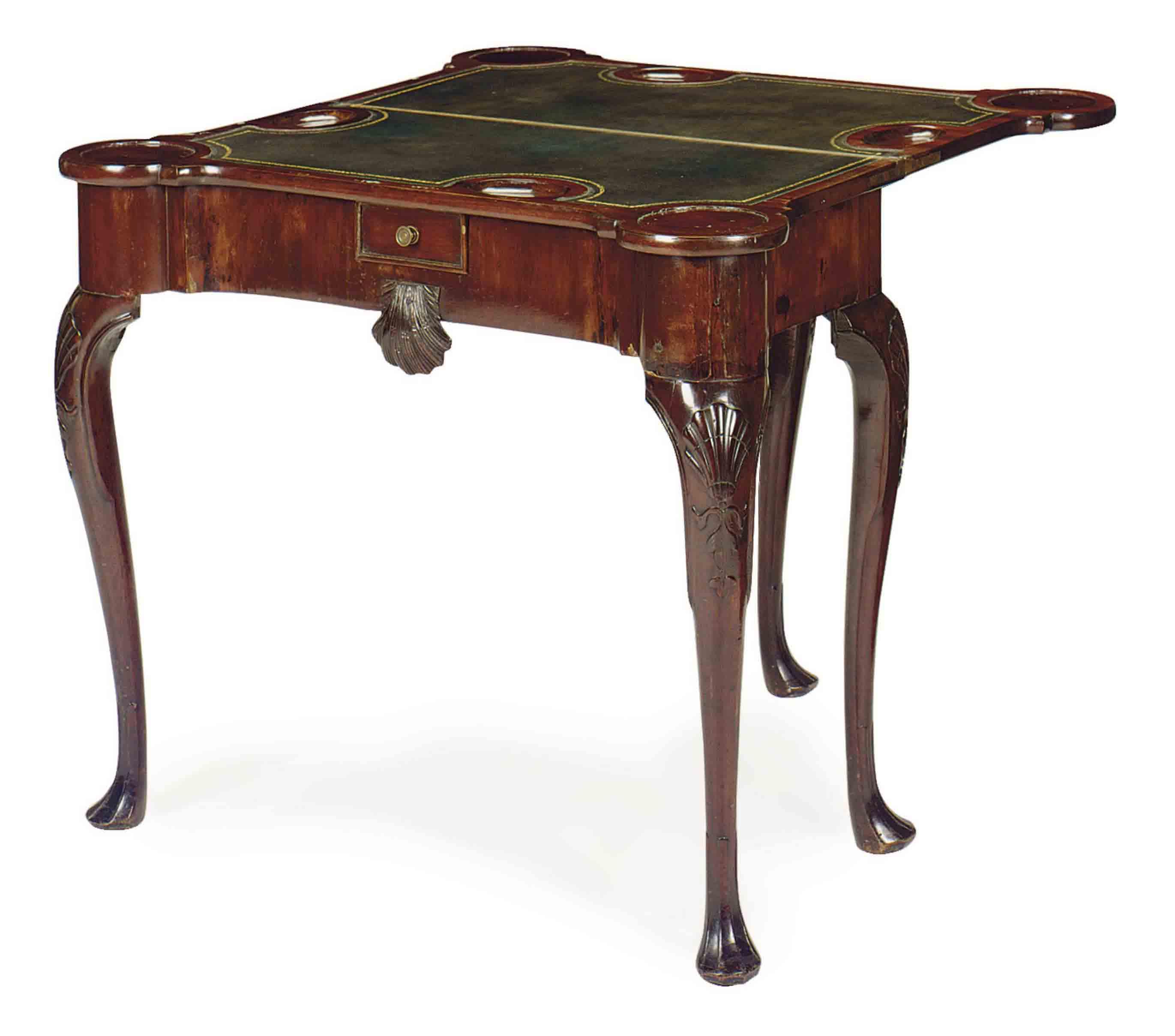 A GEORGE III MAHOGANY FOLD TOP GAMES TABLE,