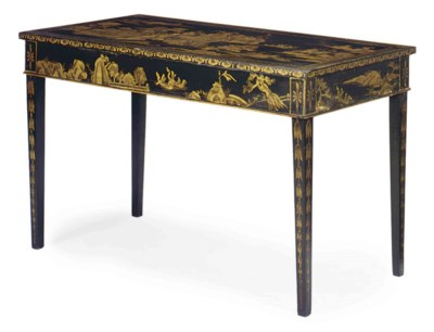 A BLACK AND GILT-JAPANNED LIBR