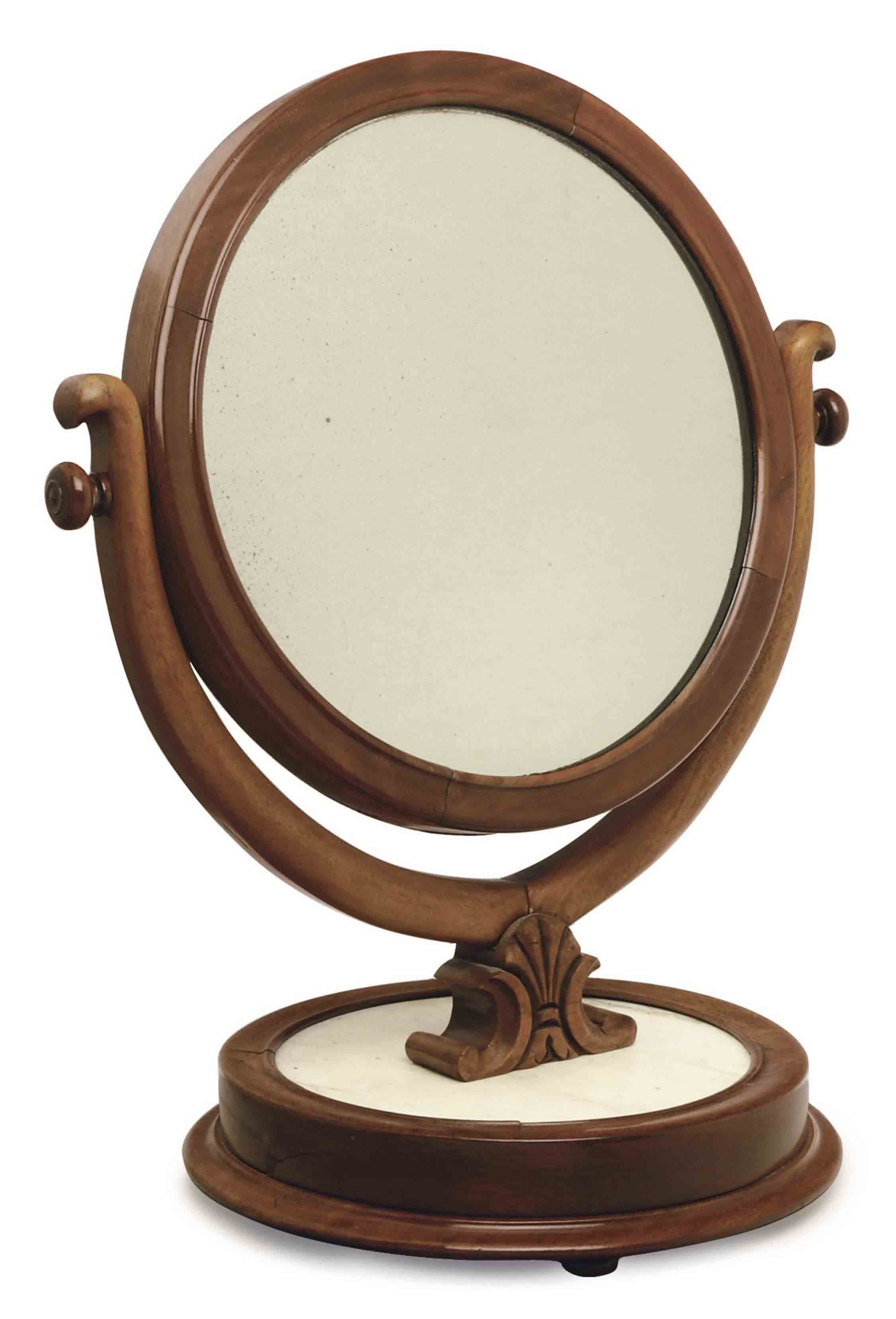 AN AMERICAN MAHOGANY AND WHITE MARBLE GENTLEMAN'S DRESSING MIRROR,