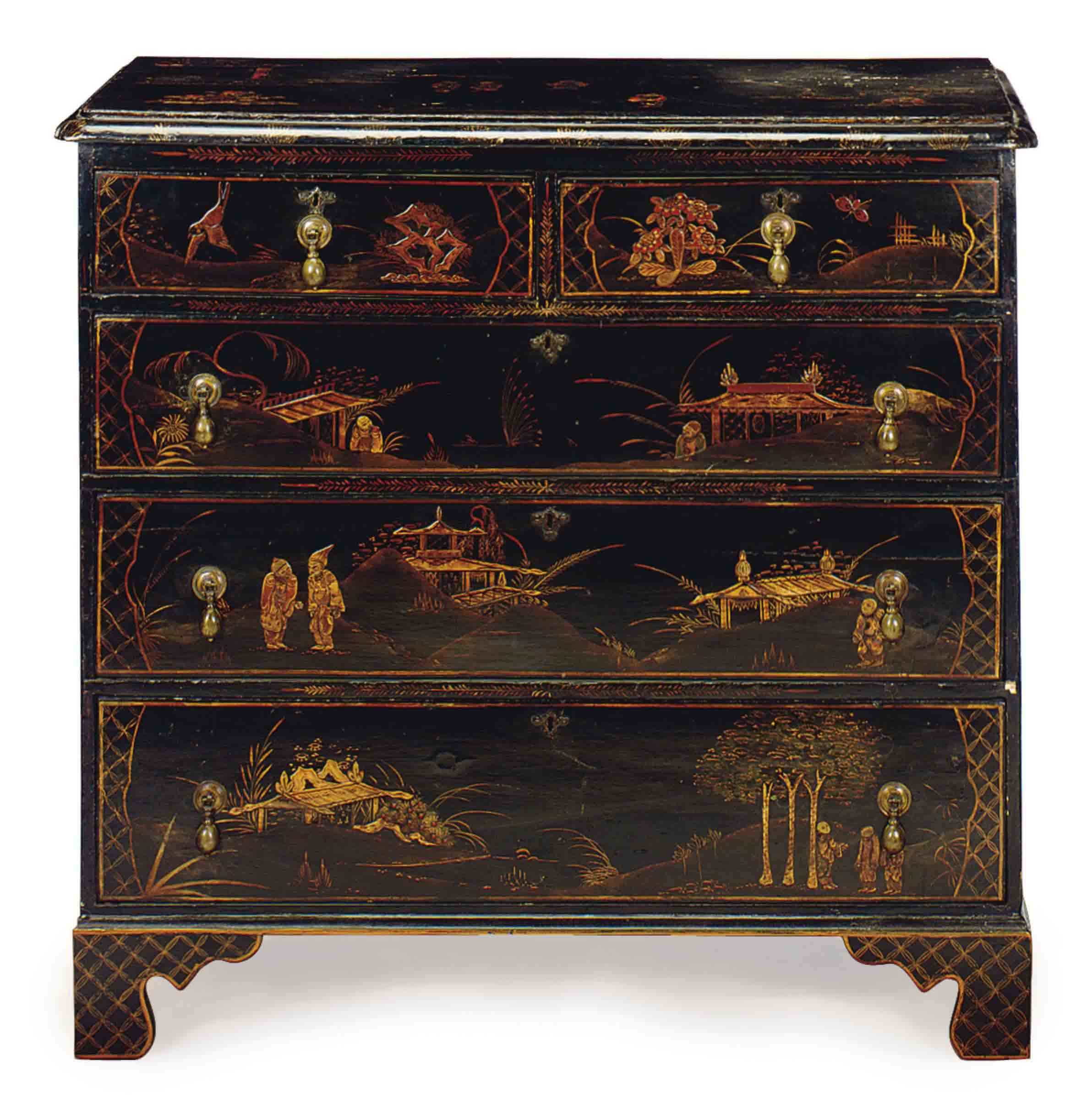 A GEORGE III BLACK AND GILT-JAPANNED CHEST OF DRAWERS,