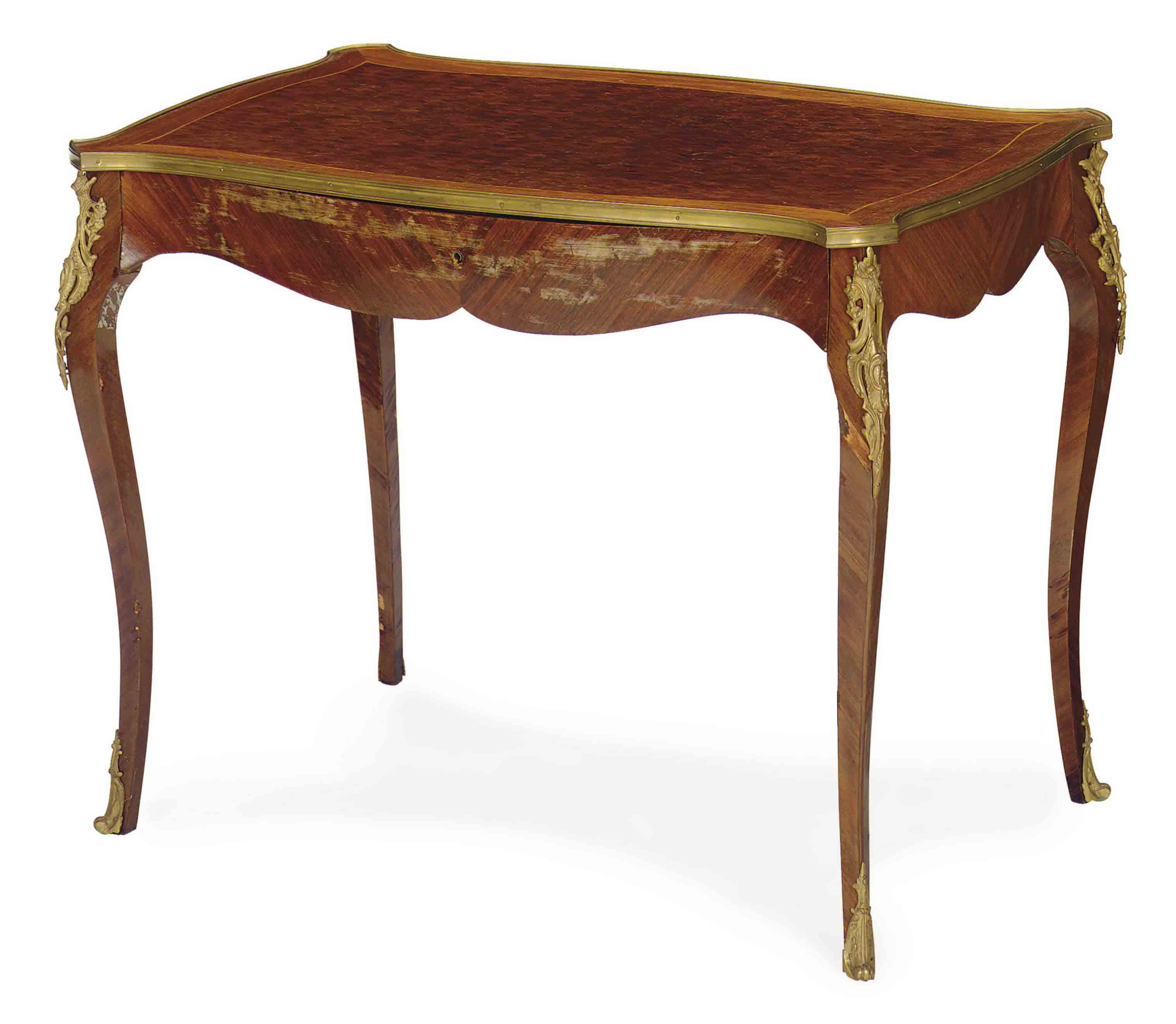 A french gilt metal mounted kingwood and parquetry center for Table th center text