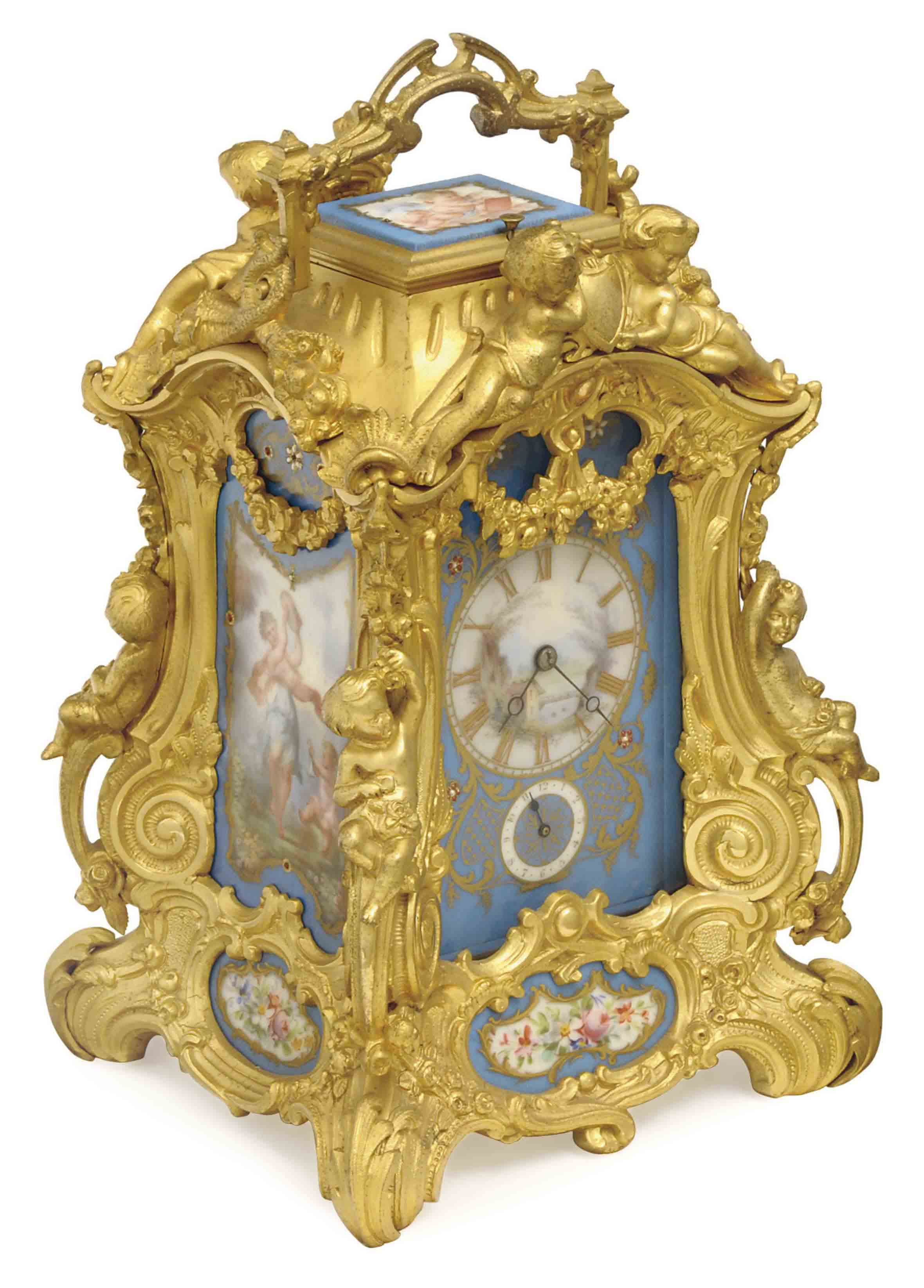 A FRENCH GILT-BRASS AND SEVRES-STYLE PORCELAIN STRIKING CARRIAGE CLOCK,