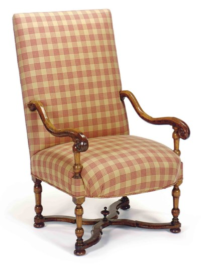 A CONTINENTAL WALNUT ARMCHAIR,