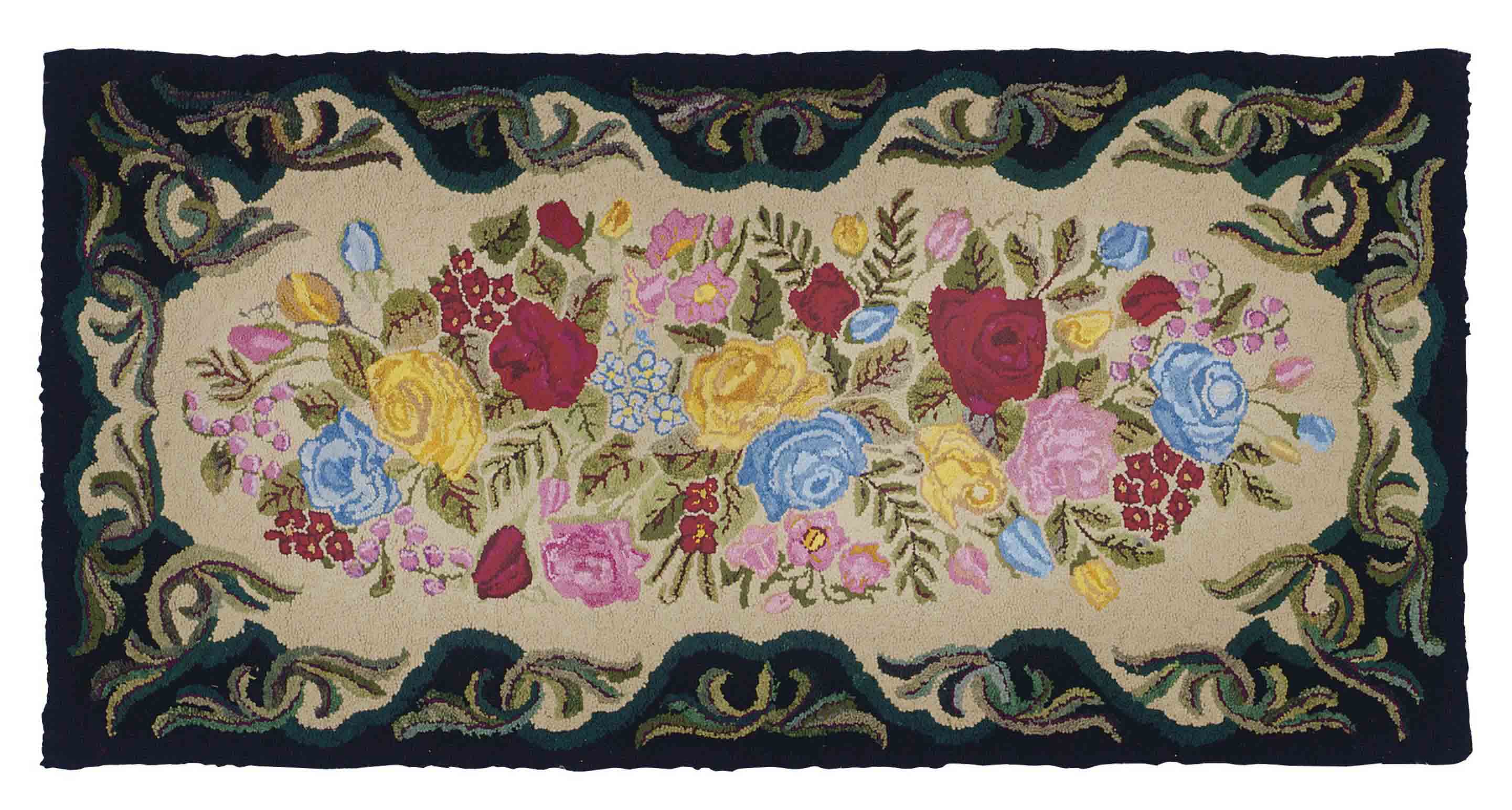 TWO AMERICAN HOOKED RUGS,