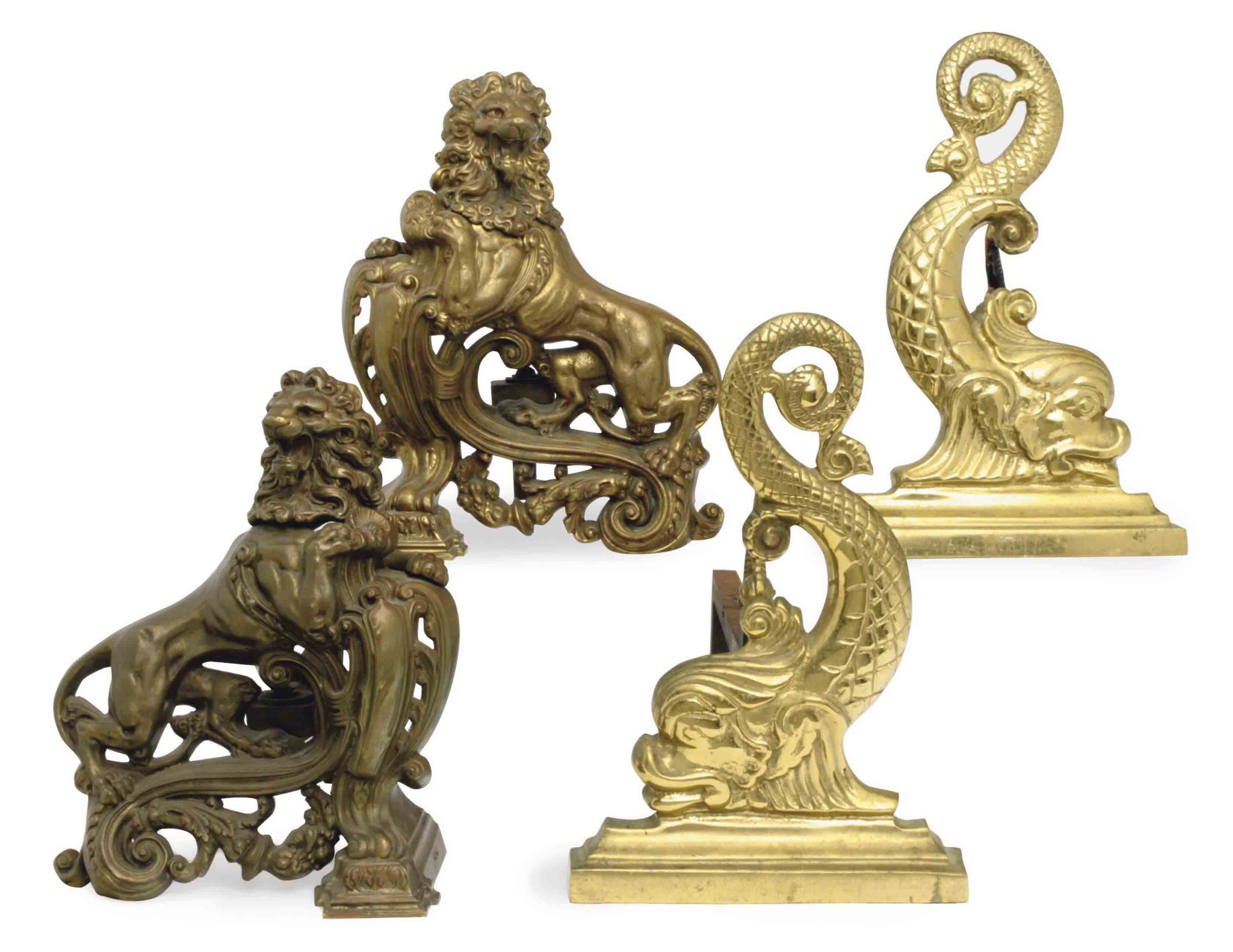 TWO PAIRS OF GILT METAL CHENETS,