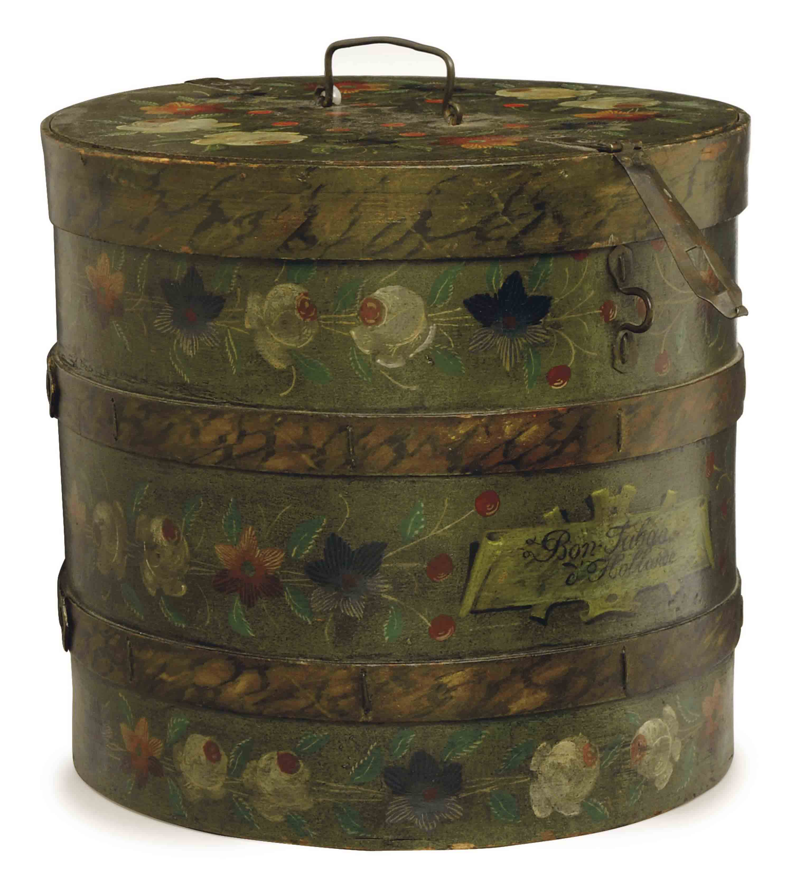 A CONTINENTAL POLYCHROME DECORATED CIRCULAR COOLING BOX,