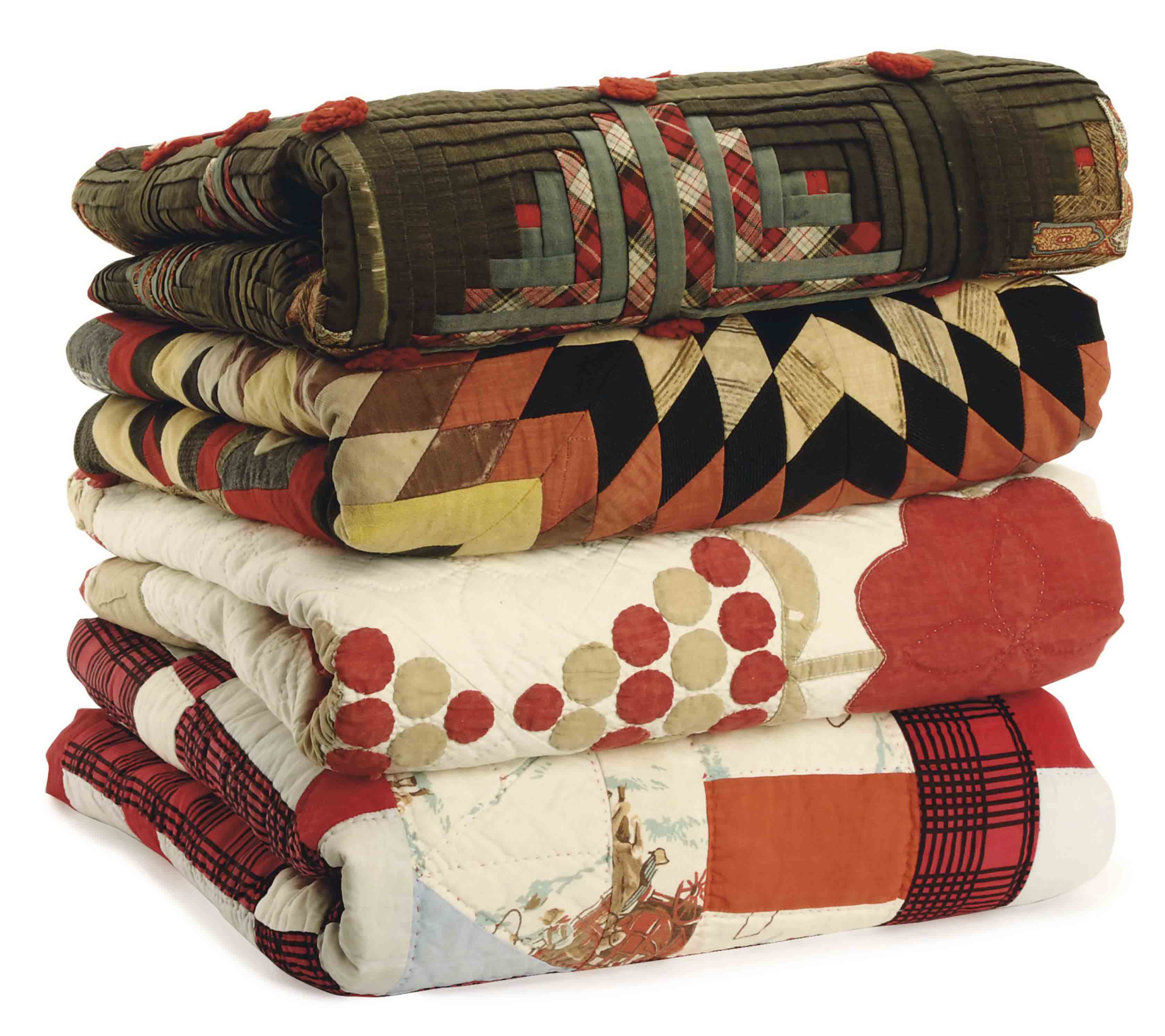 FOUR AMERICAN PIECED QUILTS,