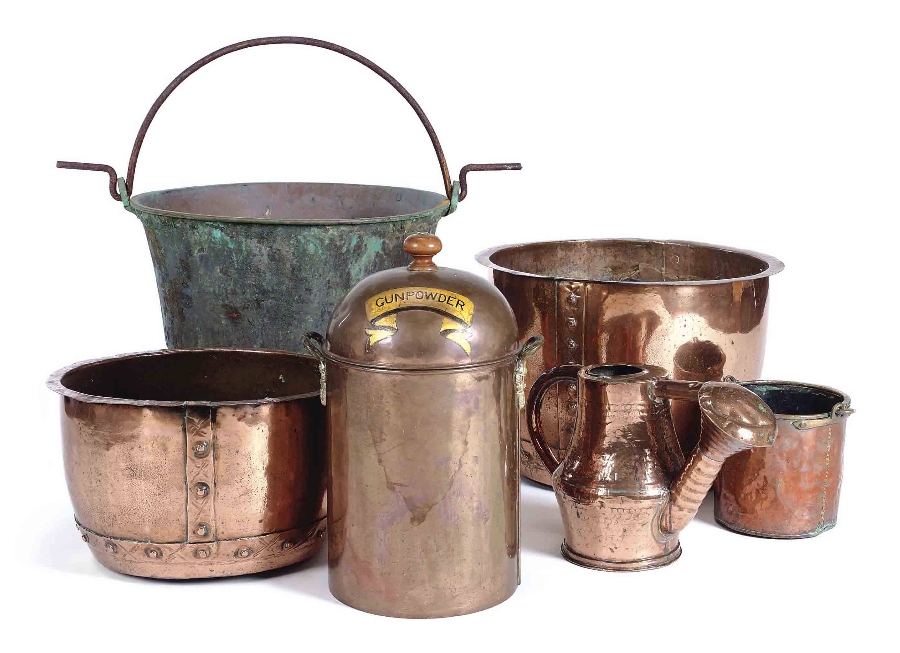 A GROUP OF COPPER VESSELS,