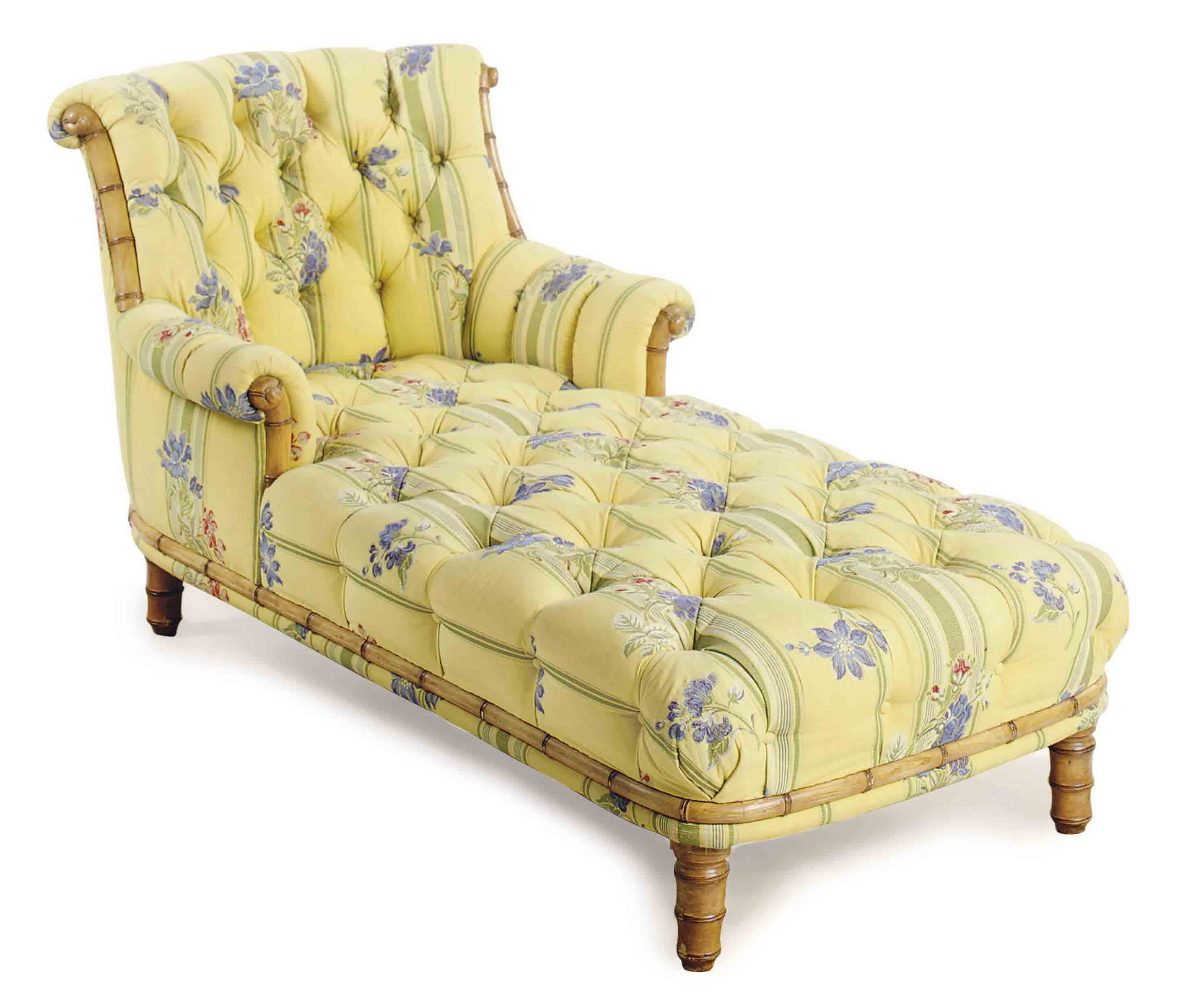 TWO BUTTON-TUFTED UPHOLSTERED CHAISE LONGUES,