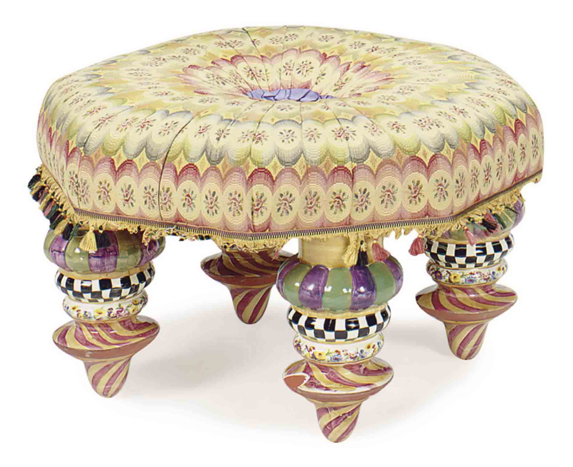 A CONTEMPORARY GLAZED CERAMIC UPHOLSTERED OCTAGONAL OTTOMAN,