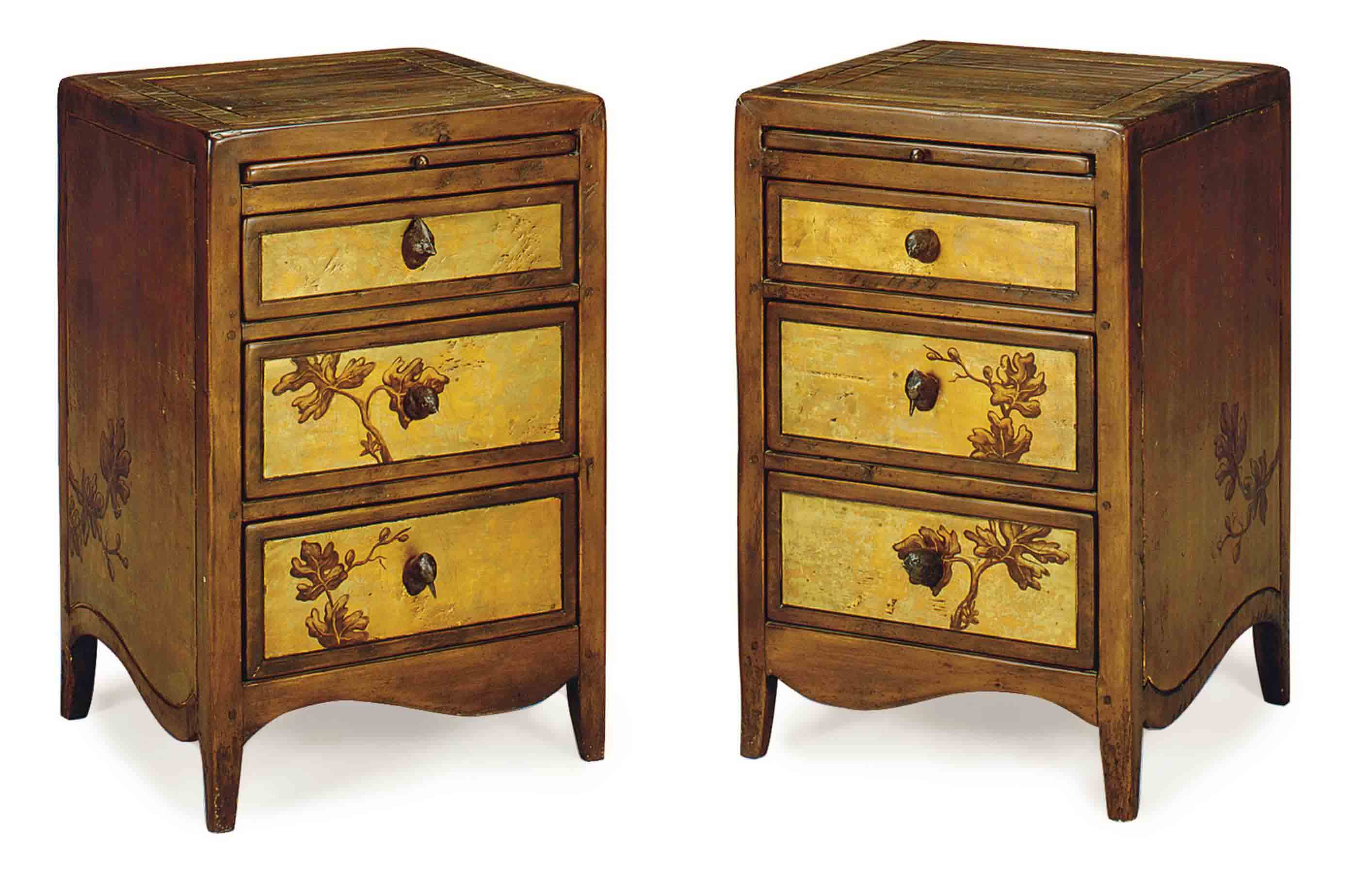 A PAIR OF FRUITWOOD AND GILT-DECORATED BEDSIDE TABLES,