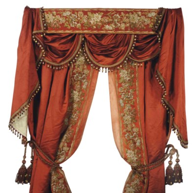 A PAIR OF FRENCH ORANGE SILK A
