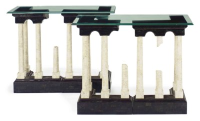 A PAIR OF MARBLE AND GLASS CON
