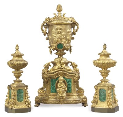 A FRENCH GILT BRONZE AND MALAC