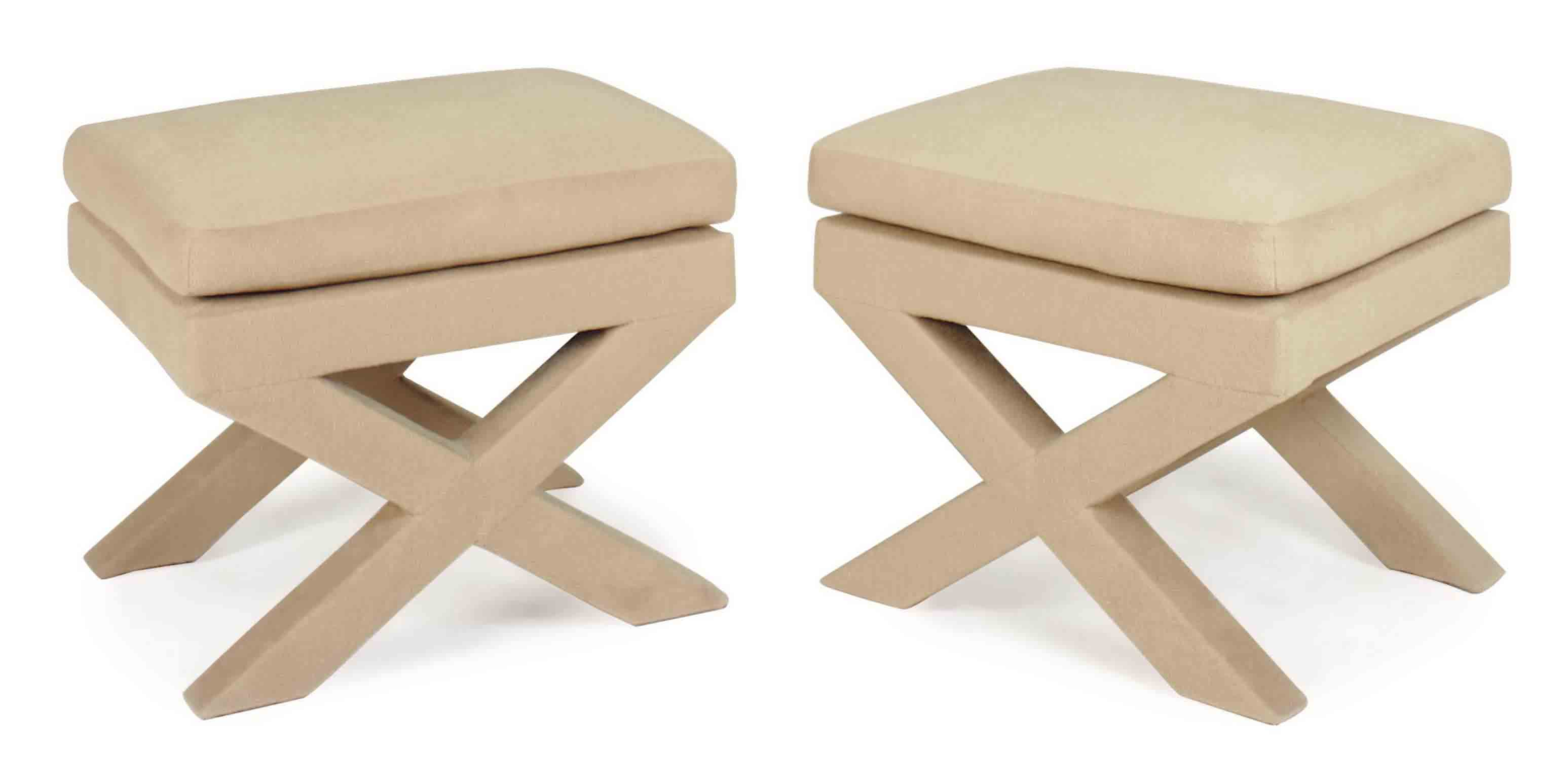 A PAIR OF CAMEL FELT-COVERED X-FORM STOOLS,