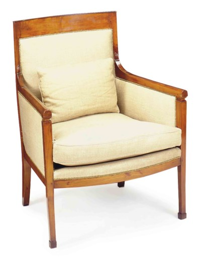 A FRENCH MAHOGANY BERGERE,
