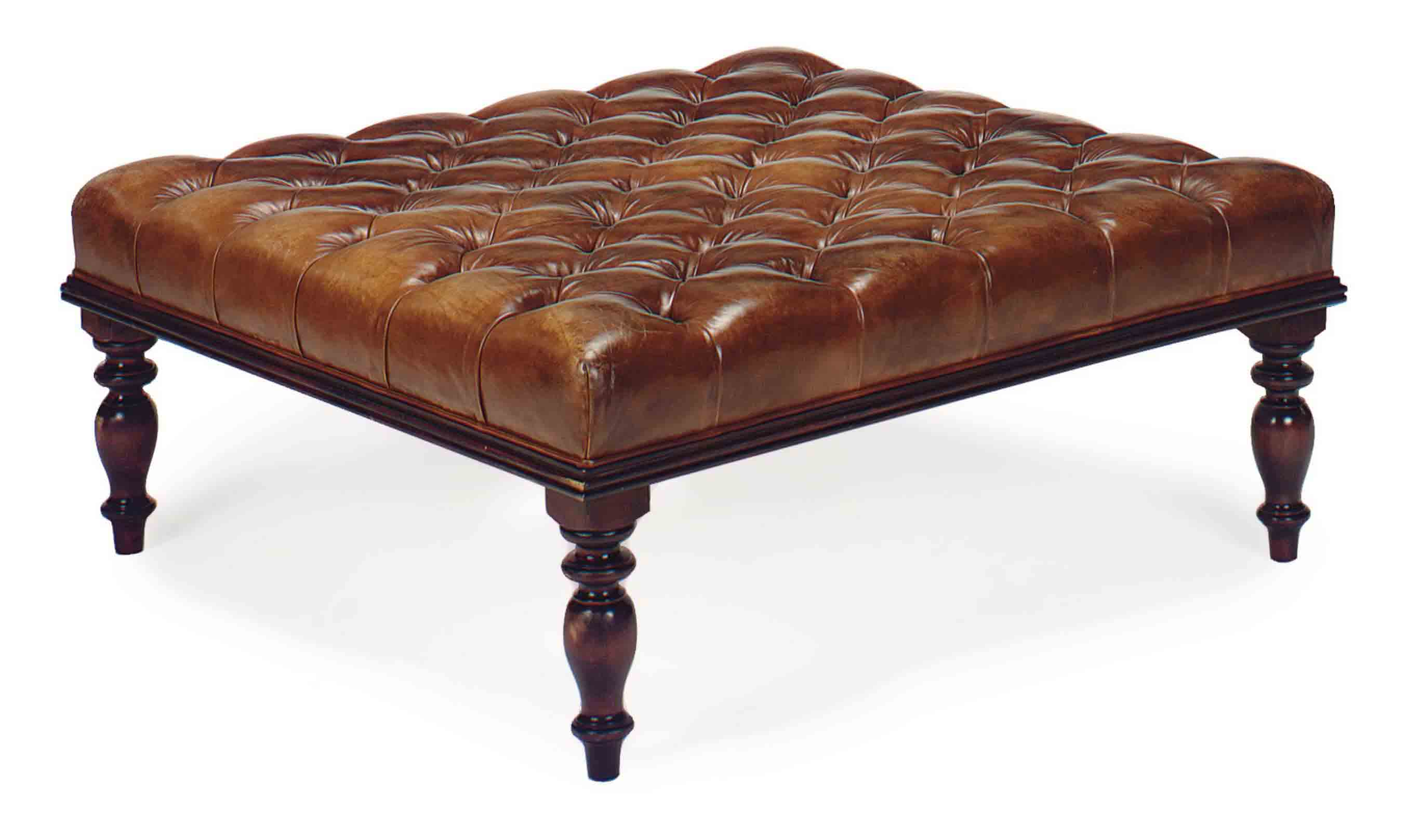 Sensational An Oversized Mahogany And Button Tufted Tan Leather Ottoman Caraccident5 Cool Chair Designs And Ideas Caraccident5Info
