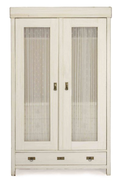 A WHITE-PAINTED PINE ARMOIRE,