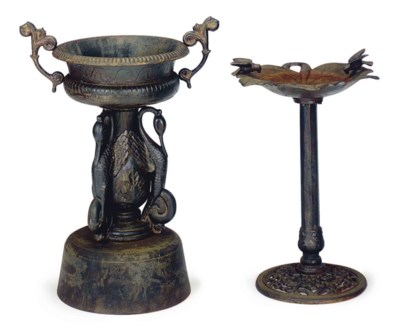 TWO CAST IRON GARDEN ORNAMENTS