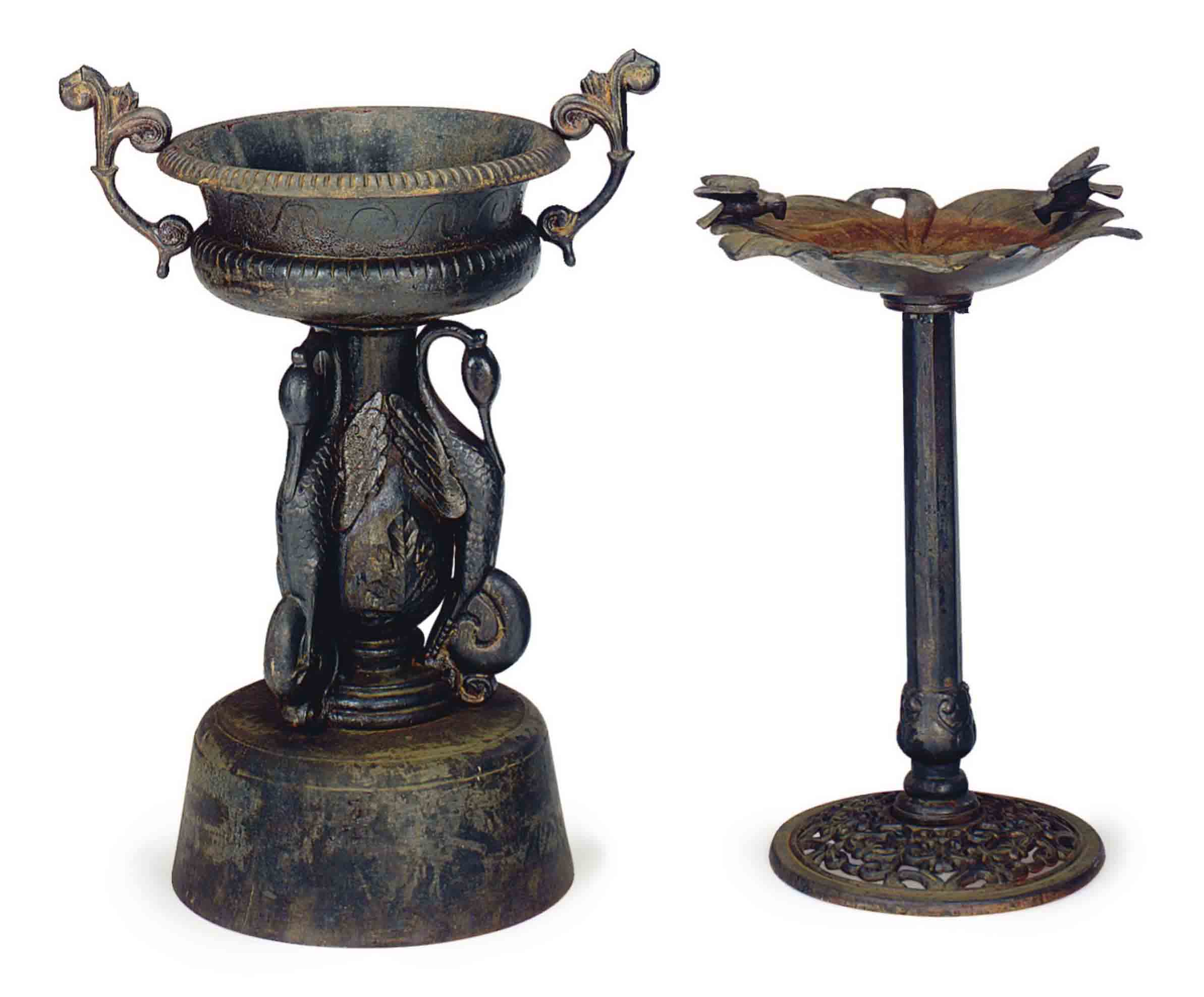 TWO CAST IRON GARDEN ORNAMENTS,