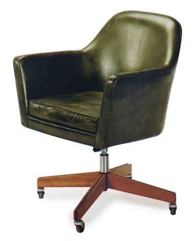A GREEN LEATHER UPHOLSTERED OA